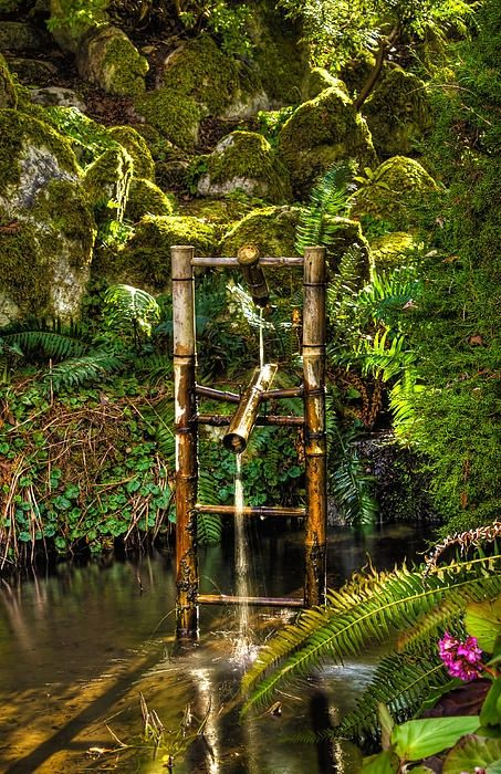 17 best fountain images on pinterest water fountains fountain and water features - Shishi odoshi bamboo water feature ...