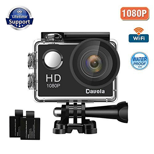 2885b294e9d9 Action Camera Sport Camera 1080P Full HD Waterproof Underwater Camera WiFi  Control by Davola with 170° Wide-angle Lens 12MP 2 Rechargeable Batteries  and ...