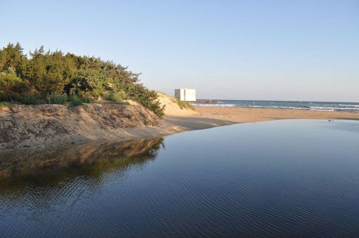 La foce di Lamacornola e la Torre San Leonardo della spiaggia Il Pilone di Ostuni all'interno della area protetta Parco delle Dune Costiere