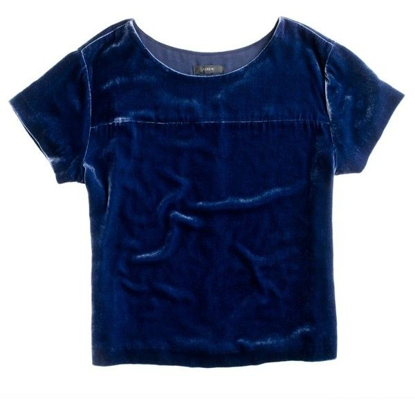 J.Crew Velvet tee (€70) ❤ liked on Polyvore featuring tops, t-shirts, shirts, tees, blue top, blue short sleeve shirt, short sleeve t shirts, blue t shirt and t shirts