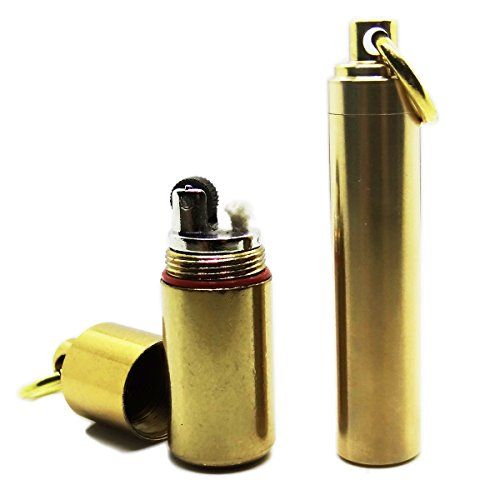 Camping Stove Accessories - PPFISH Mini Brass Key Chain Lighter SetWaterproof Fire Starter and Backup Brass Fuel Canister Especially for Survival and Emergency Use *** Click image for more details.
