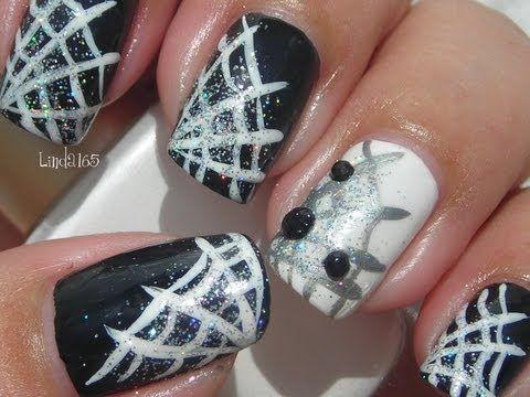 Halloween Nail Art - Bedazzled Spiderweb Decoracion de Uñas para Halloween