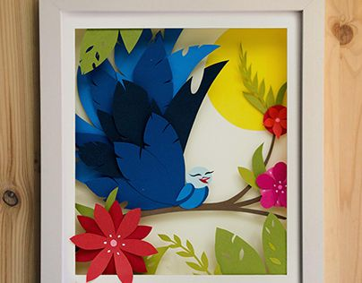 Blue Bird Paper cut out illustration by Ullu http://ullu.co/
