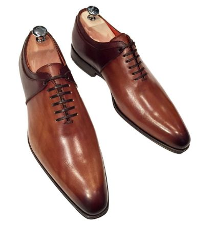 Two-Coloured Dark Brown And Light Brown One Cut Brogue Shoe Blandin and Delloye