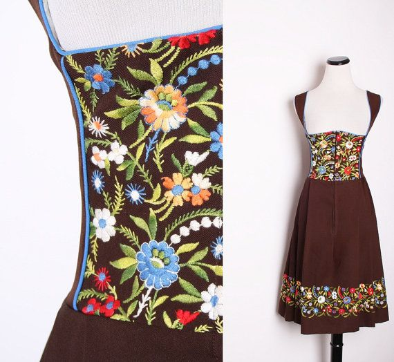 Plus Size Vintage Brown Austrian German Oktoberfest Dirndl Dress with Bright Jewel Tone Embroidered WildFlowers / Wedding Dress /  1596