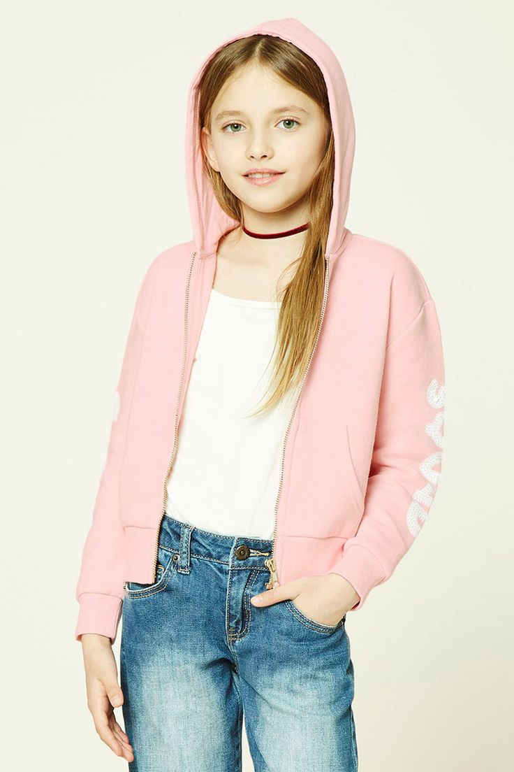 """Forever 21 Girls - A fleece knit hoodie featuring a sequins """"Girl"""" and """"Squad"""" graphics on opposite sleeves, a zippered front, kangaroo pocket, long sleeves, and ribbed trim."""