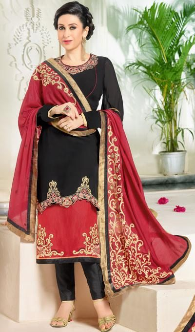 b0ec364b6f The Karishma Kapoor Collection:atisundar appealing Black And Red Designer  Suits With Embroidered Duppatta Featuring