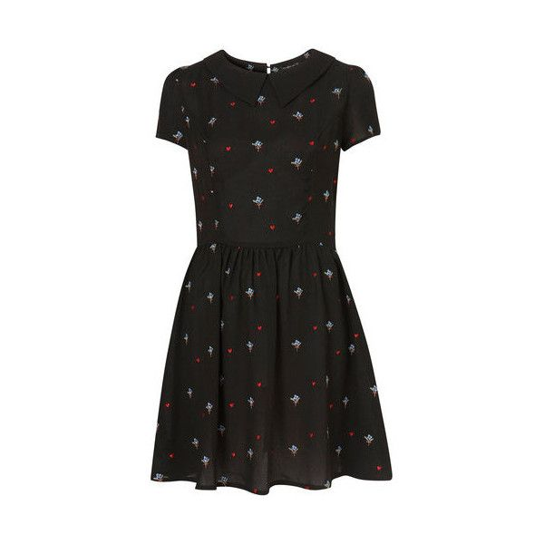 TOPSHOP Floral Embroidered Flippy Tea Dress UK 12 ALEXA CHUNG... ❤ liked on Polyvore featuring dresses, vestidos, floral embroidered dress, topshop dresses, tea-length dresses, tea party dresses and floral embroidery dress