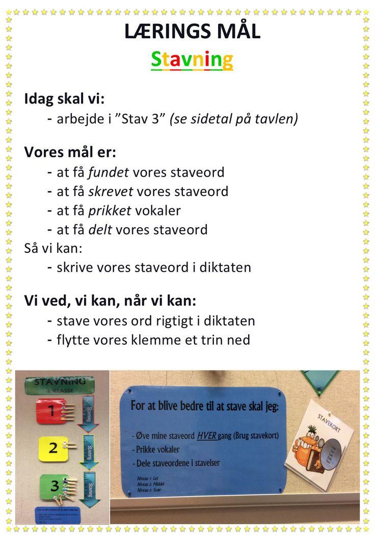 Synlige læringsmål stavning - gennemgåes i starten og slutningen af timen...