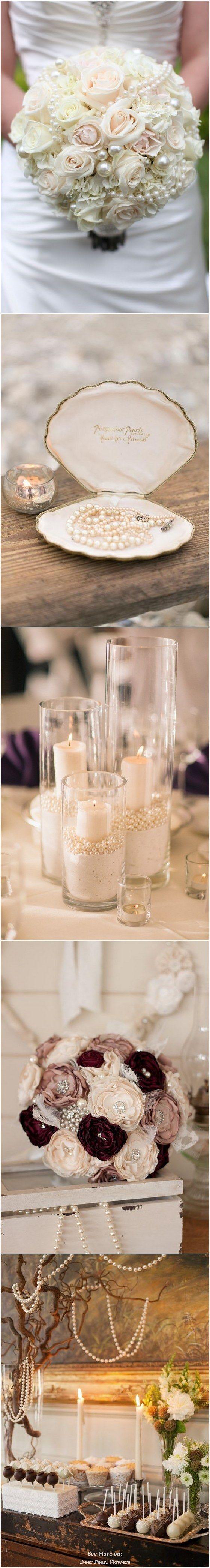 Vintage pearls wedding ideas and themes / http://www.deerpearlflowers.com/vintage-pearl-wedding-ideas/