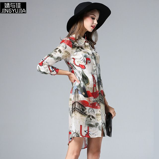 2016 women spring summer fashion runway three quarter sleeve chracter floral print silk blouse long maxi casual work shirt US $87.31 /piece To Buy Or See Another Product Click On This Link  http://goo.gl/IdJFhm