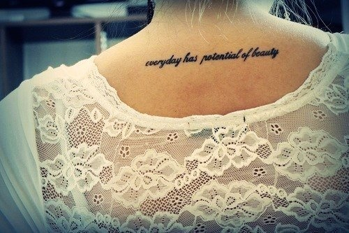Cute black short life quote tattoos for girls back short for Back tattoos for girls quotes