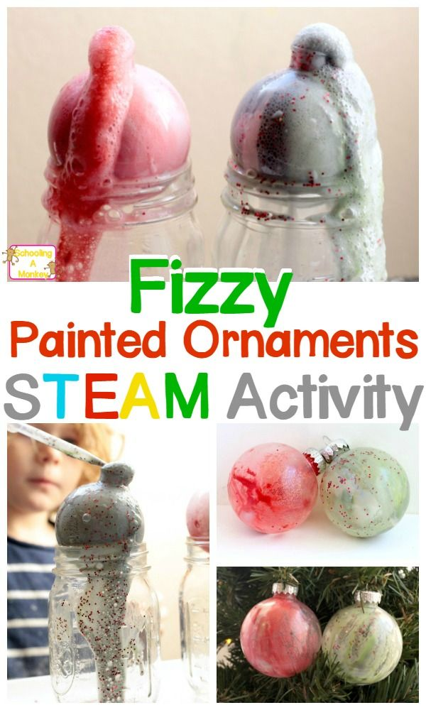 Make STEM activities last when you make these fizzy painted ornaments using baking soda and vinegar chemical reactions.