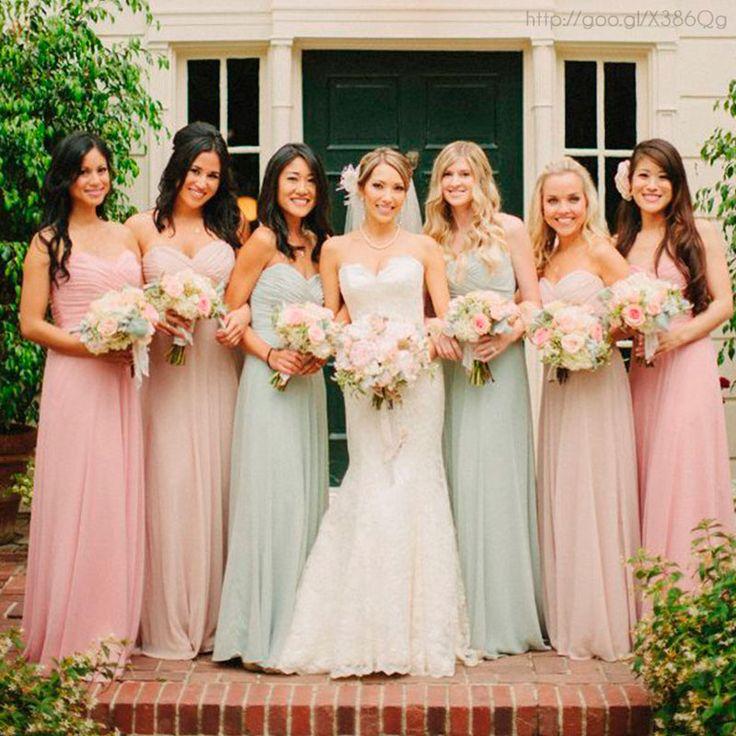 Damas de honor en tonos pastel bridesmaids dress for Pastel colored wedding dresses