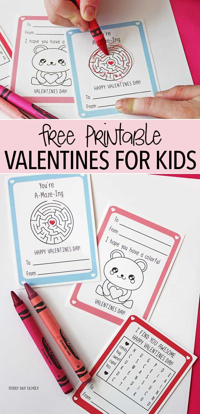 Free printable Valentine cards for kids - these are so cute with an activity on each one! Valentine's Day