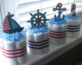 Set Of 4 Blue Nautical Diaper Cakes Baby von LanasDiaperCakeShop
