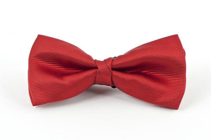 Red Self Stripe Bow Tie