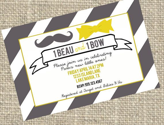Twin Baby Shower Invite For Boy Girl Twins  Beau And Bow  Custom Colors