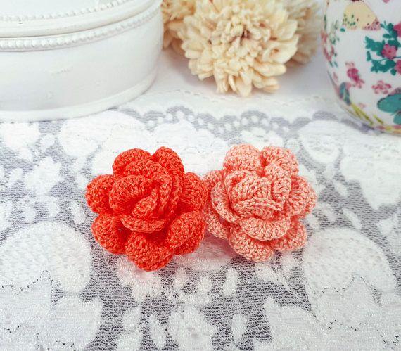 2 crochet rose appliques salmon rose embellishment coral