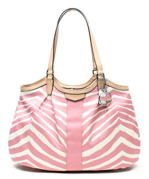 #zulily! Coach Pink Tulle Signature Zebra Devin Tote by Coach