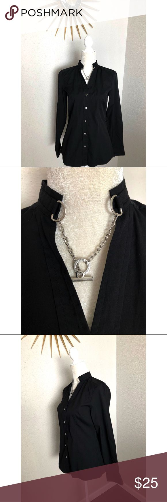 Michael Kors Black Button Down Women's Top w chain Beautiful Michael Kors button down blouse with decorative silver chain closure. This shirt is a size 6 and in great condition. Please contact me with any questions. Michael Kors Tops