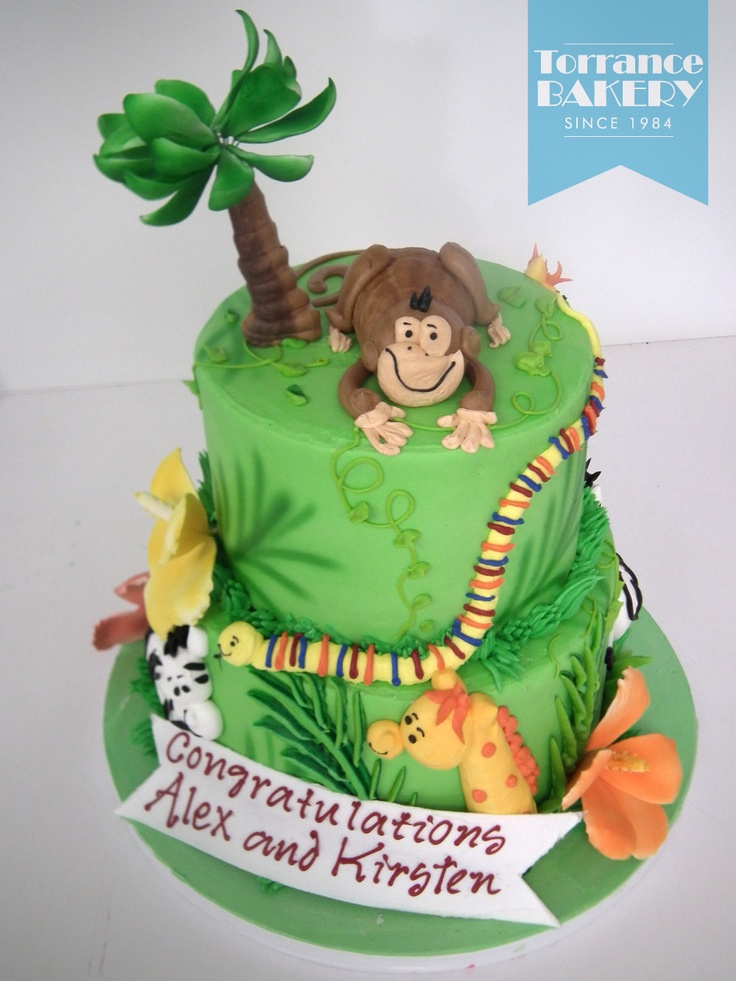 One of our most popular tiered cake designs! Jungle themes are great for baby showers and kid's parties!