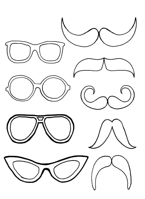 printable sunglasses coloring pages | Eyeglasses Pair with Mustache Coloring Pages | Kids Play ...