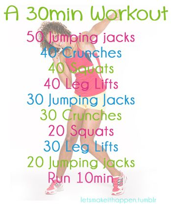 30 min.... I think I might be able to do this one ... except for the 10 minutes running. I would have to substitute
