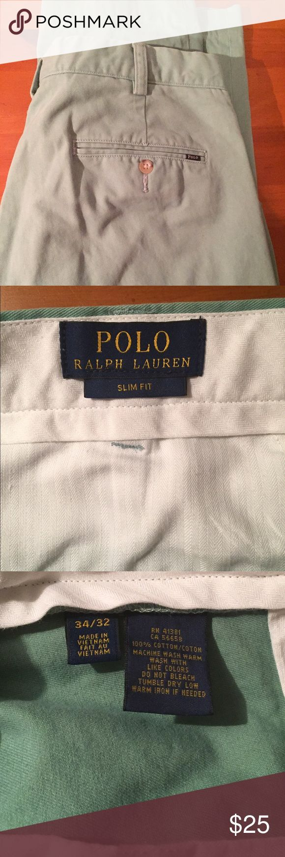 Polo Ralph Lauren Chinos Sea Foam Green 34X32 Men's Ralph Lauren Slim Fit Chinos. Willing to bundle. Like new, outgrew too quick! Comment with questions/concerns! Polo by Ralph Lauren Pants