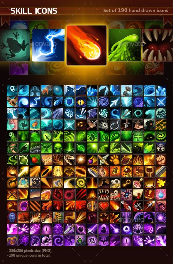 Skill Icon Pack - Miscellaneous Game Assets | MMO