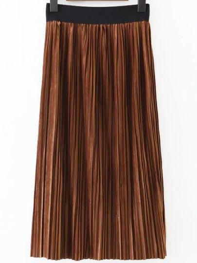 lange Faltenrock Elastische Taille-khaki