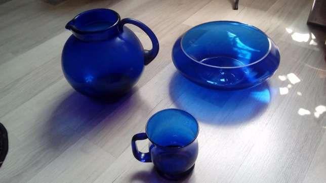 Piękny zestaw niebieskie szkło RETRO -PRL - REZERWACJA Pyskowice • OLX.pl