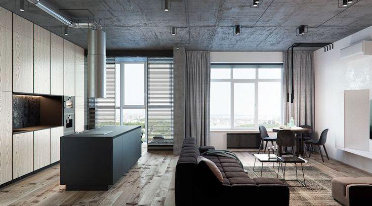 amenajare apartament open space living cu bucatarie modern