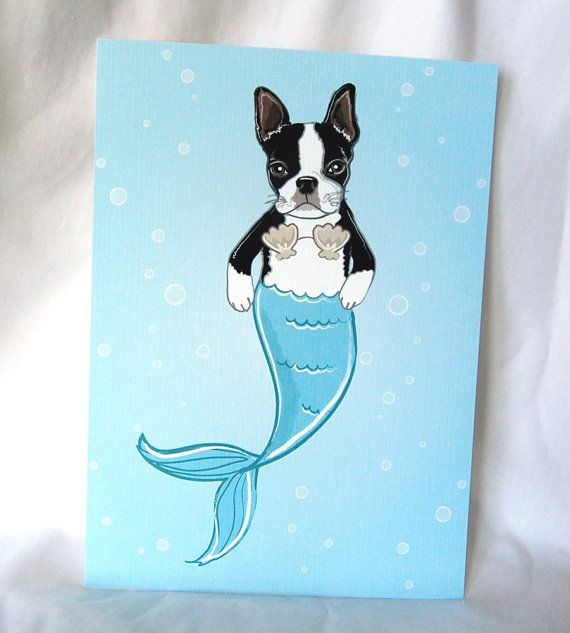 Mermaid Boston Terrier  EcoFriendly 5x7 Print by AfricanGrey