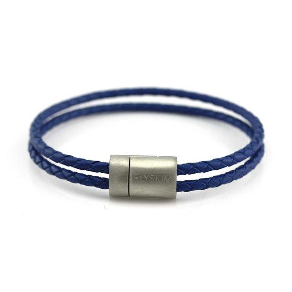 Double Blue Leather Bracelet