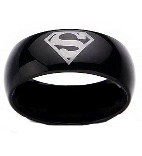 Superman Print Black Tungsten Carbide Dc Width 8 Mm Band Ring R161 Size 4 13 Cm116xlsub3 Black Tungsten Batman Wedding Rings Superman Wedding