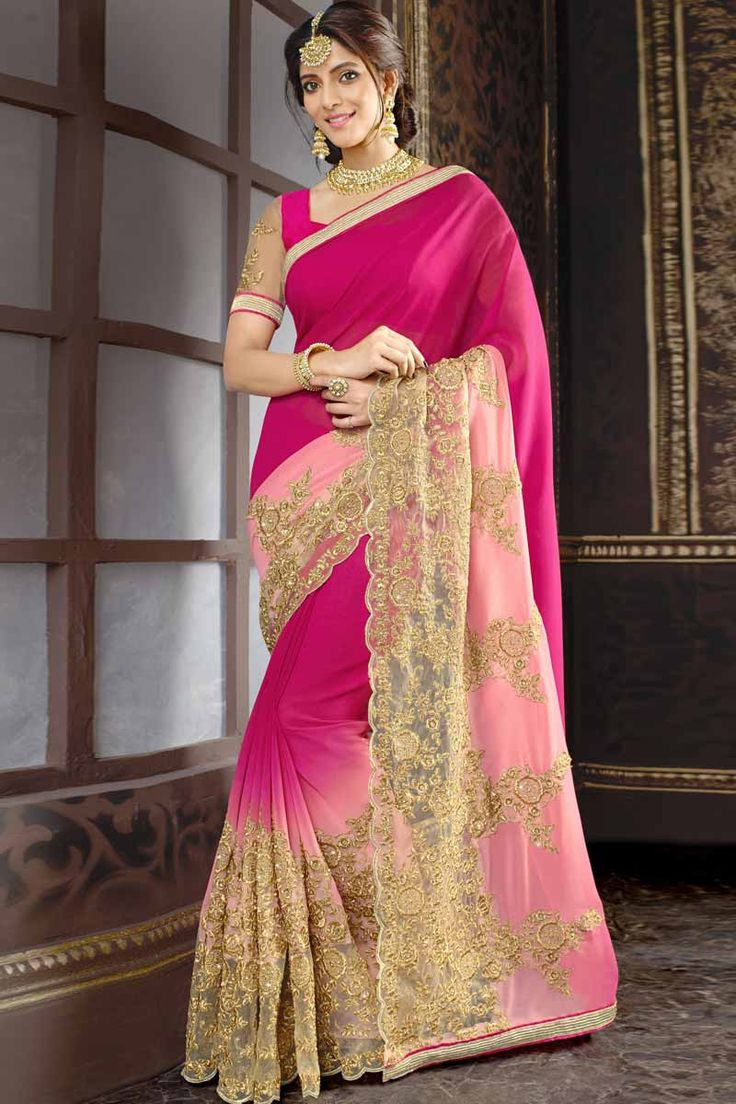 Rani Pink With Baby Pink Georgette Saree With Art Silk Blouse Price: $ 89.36 Rani Pink with Baby Pink, georgette saree with pink with cream, art silk blouse.  Embellished with zari and stone embroidery. Saree with Fancy Pallu and Embroidered Border ,U Neck Blouse, Short Sleeve Blouse.  It comes with unstitch blouse, it can be stitched to 34,36,38,40 sizes.  http://www.andaazfashion.com/womens/sarees/rani-pink-with-baby-pink-georgette-saree-with-art-silk-blouse-dmv9127.html