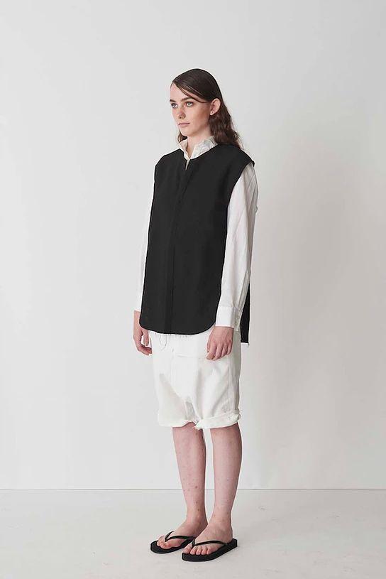 Shirts→maison de F Sleeveless Top スリーブレストップ ブラック ※ベストのように着用できます!  【MALE FE MALE / メルフィメル】  #maisondef #malefemale #androgynous #androgyny #fashion #Unisex #メゾンドエフ #メルフィメル #アンドロジナス #アンドロジニー #メンズファッション #ユニセックス #ジェンダーレス #中性的な服
