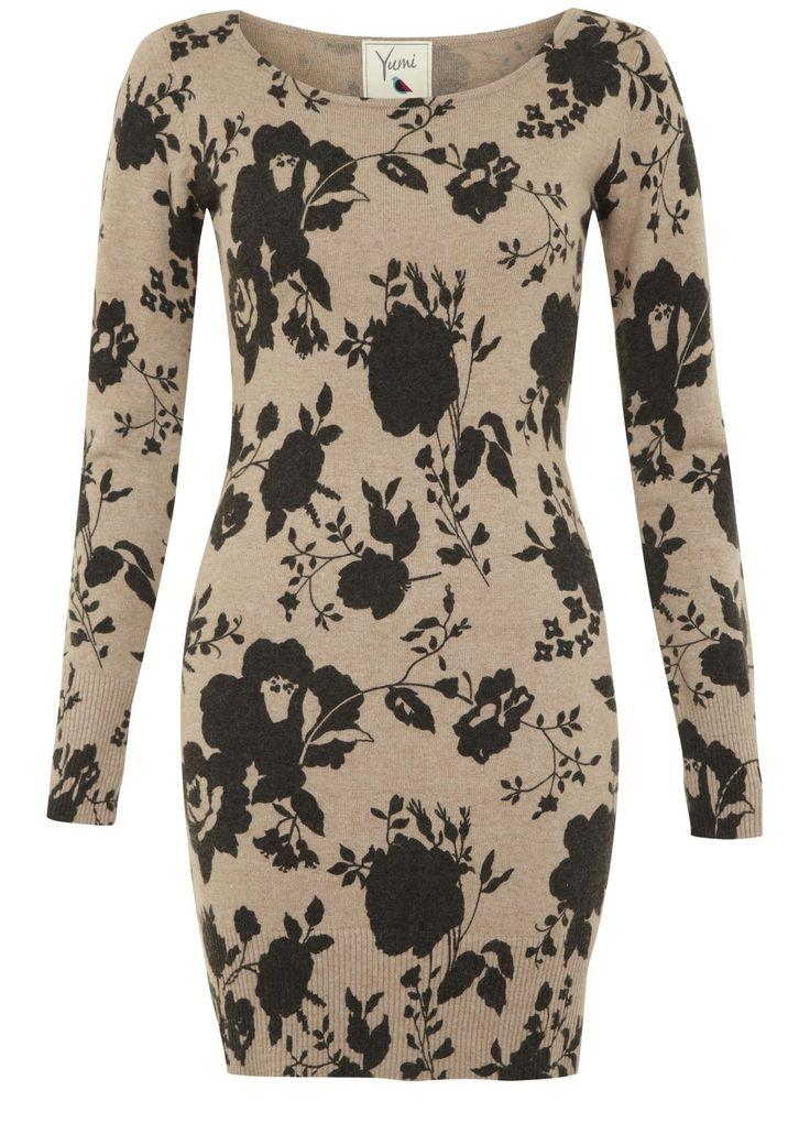 Knitted Rose Print Dress @Yumi Direct #pintowin