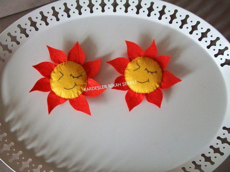 Kardeşler nikah Şekeri.: Keçe doğum günü magneti /bebek şekeri - Güneş