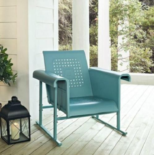 Blue outdoor metal retro vintage style glider chair patio for Retro outdoor furniture