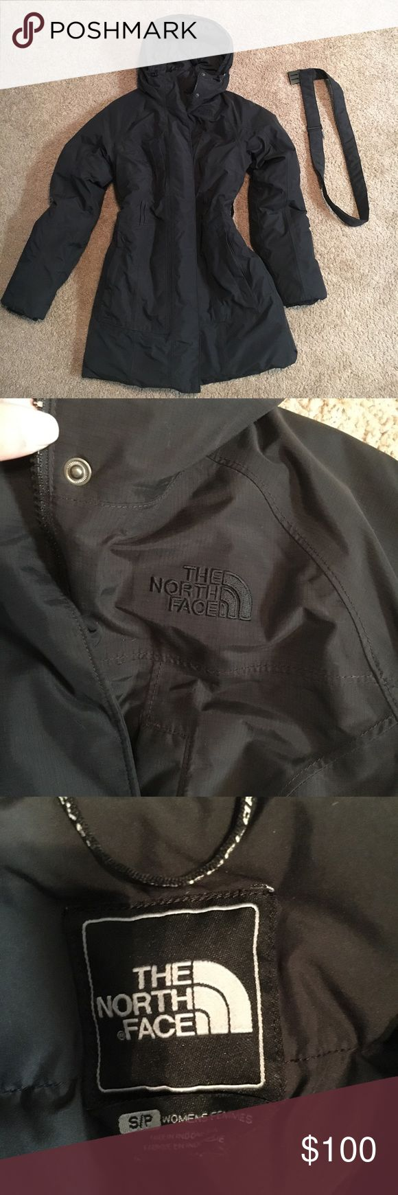 North Face Arctic Parka Jacket Dry Cleaned and in Fantastic Condition. Very gently worn with no stains or holes. Heavy weight and great for winter conditions. The Faux fur that was previously on the jacket is missing. Belt works you just have to bend the metal a little to insert the clips on each side. If you pull too hard the belt will come undone. Overall though the jacket is in great condition. North Face Jackets & Coats