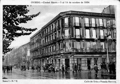 Calle Uria y Posada Herrera. Oviedo 1934
