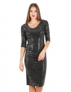 It's gonna be a real party night-Black metallic scoop neck bodycon dress