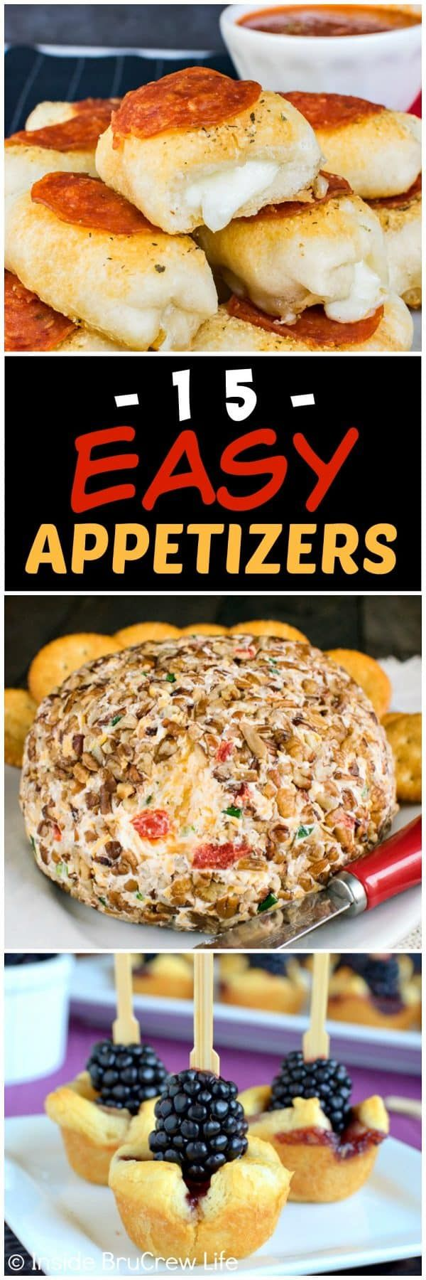 15 Easy Appetizer Recipes - find easy snacks to make for your game day or holiday parties. Enjoy an entire snack dinner and game night with the family using recipes from here.