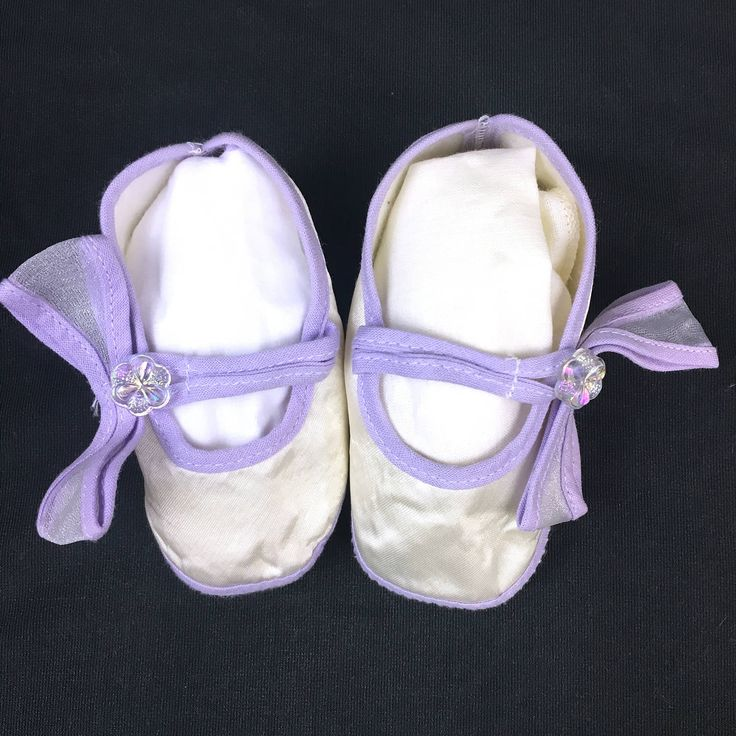 Satin Baby Shoes, Easter Booties, Baby Girl Slippers, Vintage Crib Slippers, GLG Knit Hong Kong, 1980's Baby Shoes, Purple White Shoes by GiftGarbBags on Etsy
