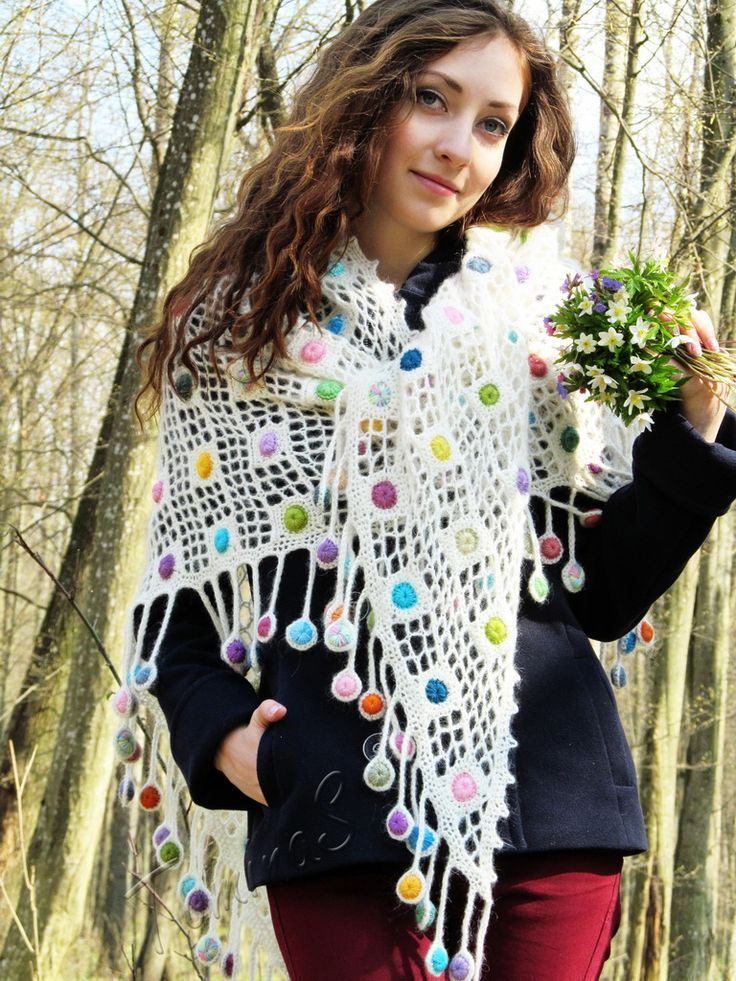 """Sugar drops"" (crochet shawl, wrap, filet lace, wool shawl, crochet drops)"