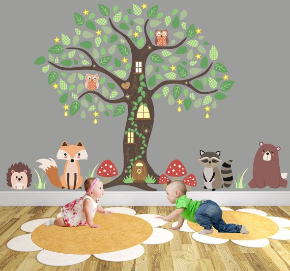 Nursery Woodland Wall Decal, Animal Wall Stickers around an Owl Tree Mural. Fox and Bear, Hedgehog and Raccoon, baby decor, Autumn Finds