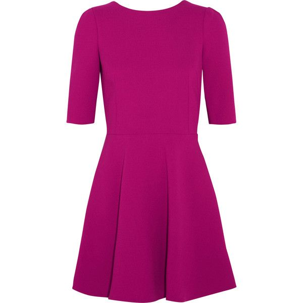 Dolce & Gabbana Stretch-wool crepe mini dress ($725) ❤ liked on Polyvore featuring dresses, vestidos, half sleeve dresses, mini dress, short dresses, purple mini dress and purple dress