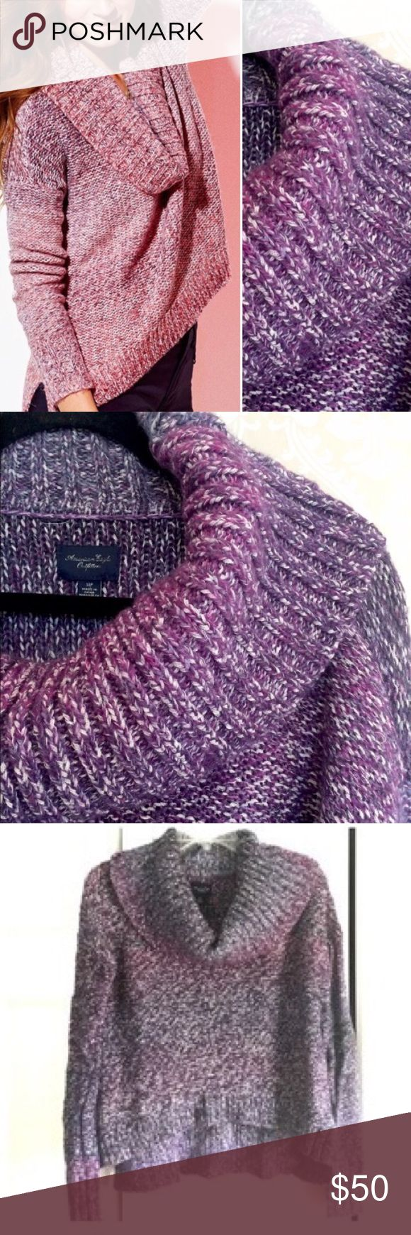 AE purple sweater American Eagle sweater in ombré purple (model is wearing the pink color).  The first three photos I found online and the rest are my own.  I wore this sweater only once.  It is still brand new looking with no flaws!  No trades American Eagle Outfitters Sweaters